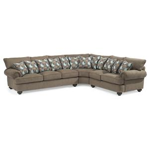 Three Piece Sectional Sofa with Rolled Arms