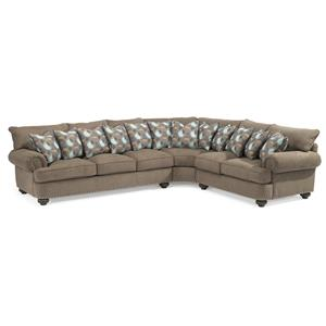 Three Piece Sectional Sofa with Rolled Arms and Nailheads