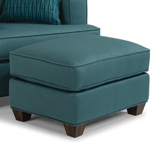 Contemporary Ottoman with Tapered Block Feet