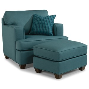 Contemporary Chair and Ottoman Set with Track Arms