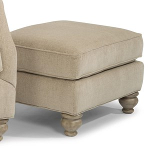 Transitional Ottoman with Bun Feet