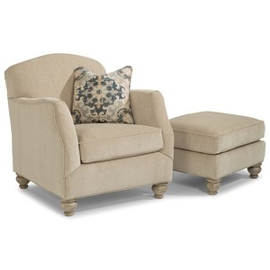 Transitional Chair and Ottoman with Bun Feet