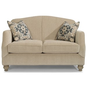 Transitional Loveseat with Bun Feet