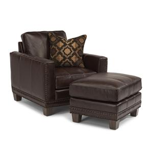Transitional Chair and Ottoman with Nailhead Border and Wood Legs