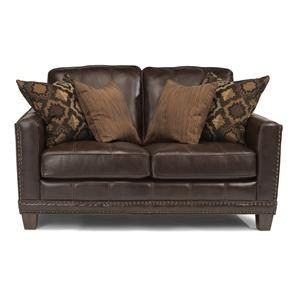 Transitional Love Seat with Nailhead Border and Wood Feet