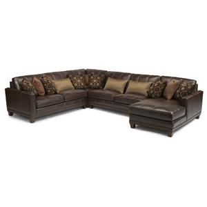 Transitional Four Piece Sectional Sofa with RAF Chaise