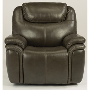 Leather Match Power Gliding Recliner with Power Headrest