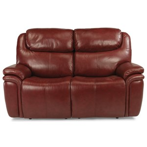 Leather Match Power Reclining Loveseat with Power Headrests