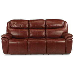 Leather Match Power Reclining Sofa with Power Headrests