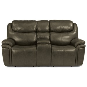 Leather Match Power Reclining Loveseat with Console and Power Headrests