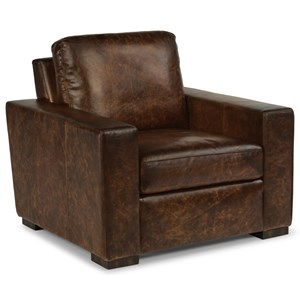 Contemporary Leather Chair with Track Arms
