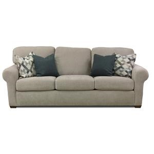 "Transitional 93"" Three-Cushion Sofa with Rolled Arms"