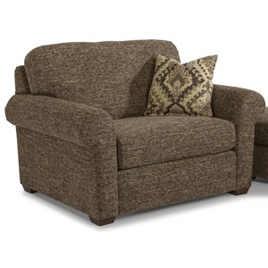 Transitional Upholstered Chair with Rolled Arm