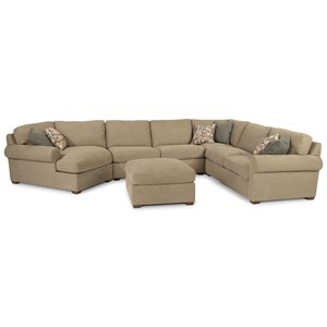 Transitional 5 Seat Sectional with Cocktail Ottoman