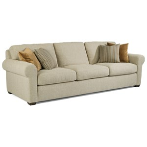 "Transitional 105"" Three-Cushion Sofa with Rolled Arms"