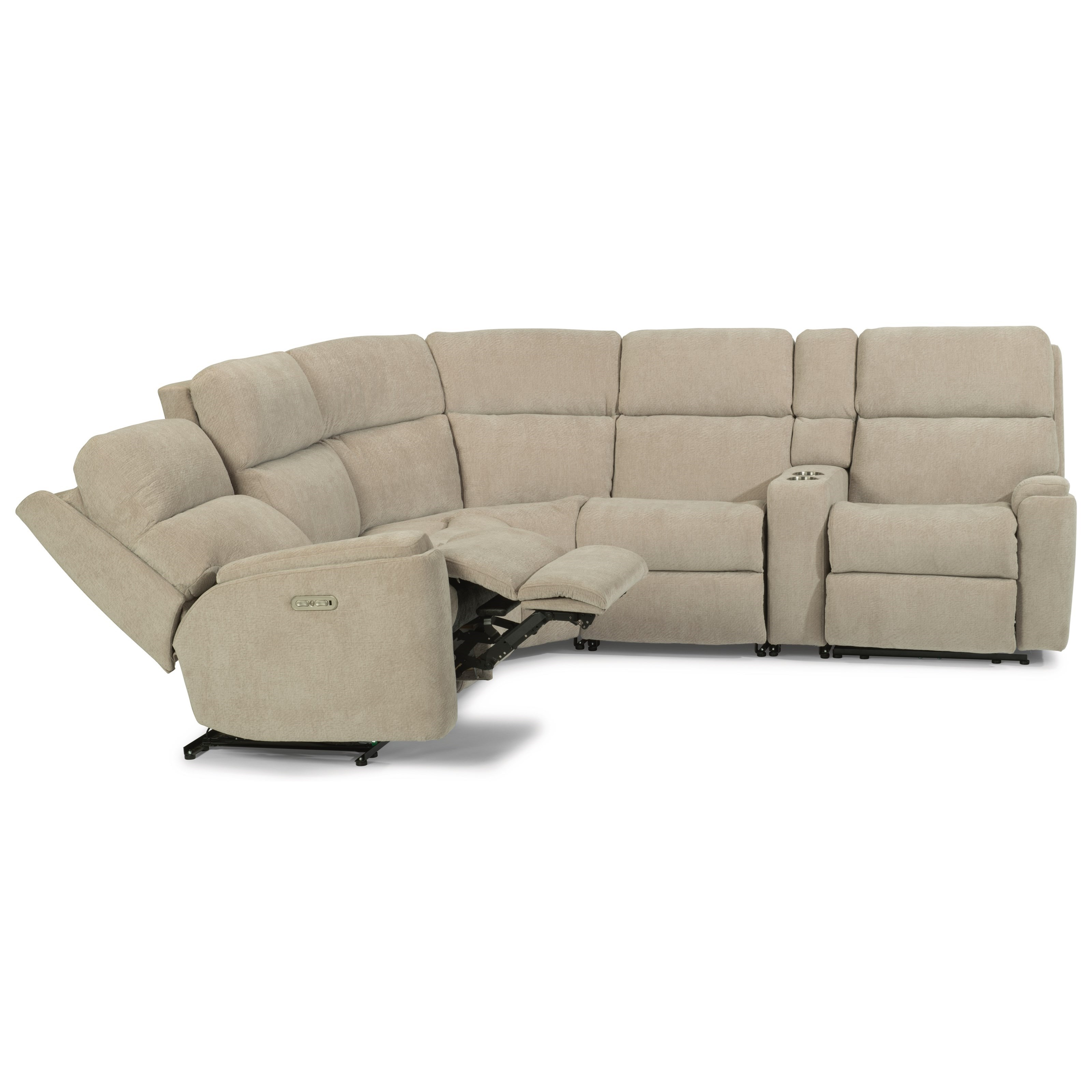 Rio 6 Piece Power Reclining Sectional by Flexsteel at Walker's Furniture