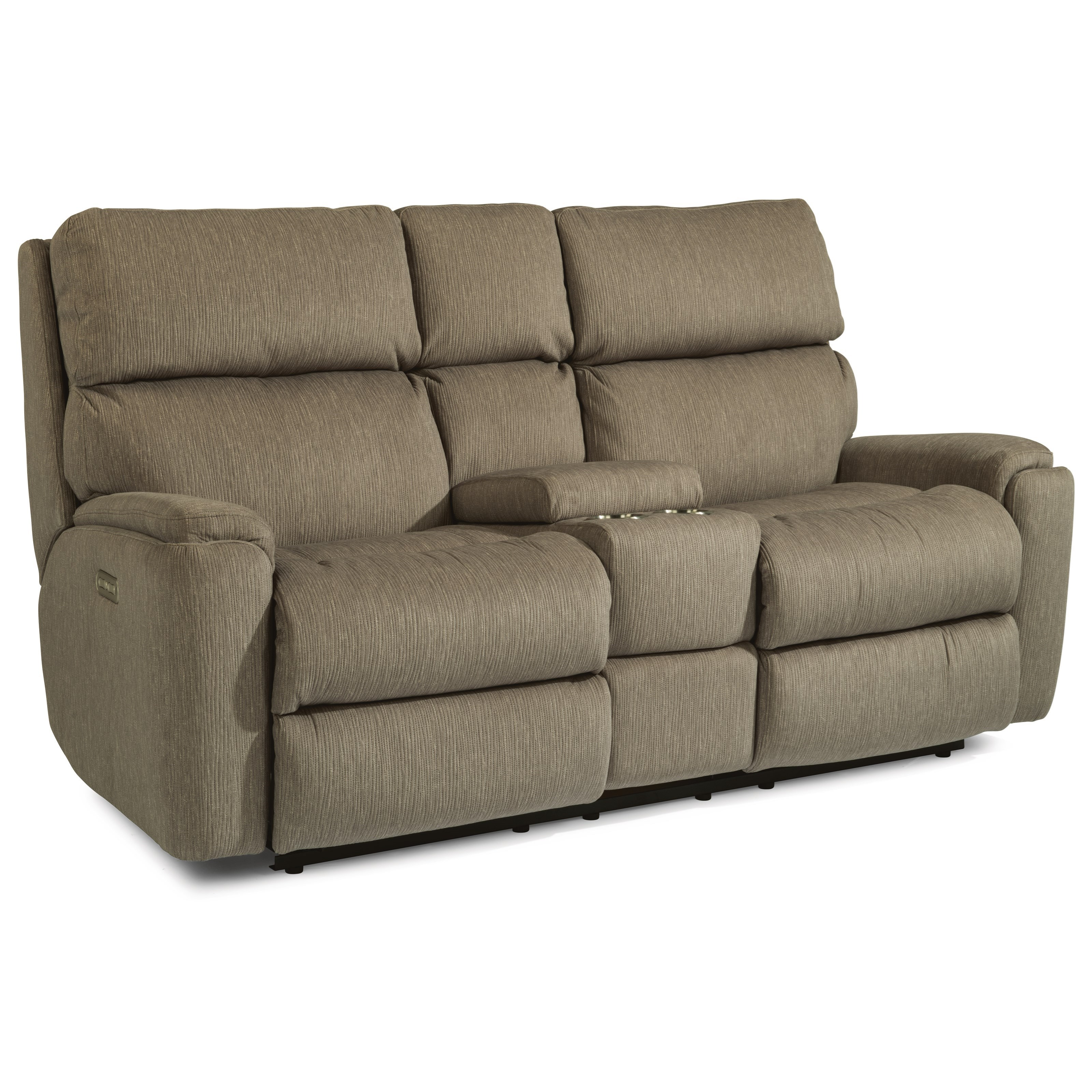 Rio Reclining Loveseat with Console by Flexsteel at Walker's Furniture