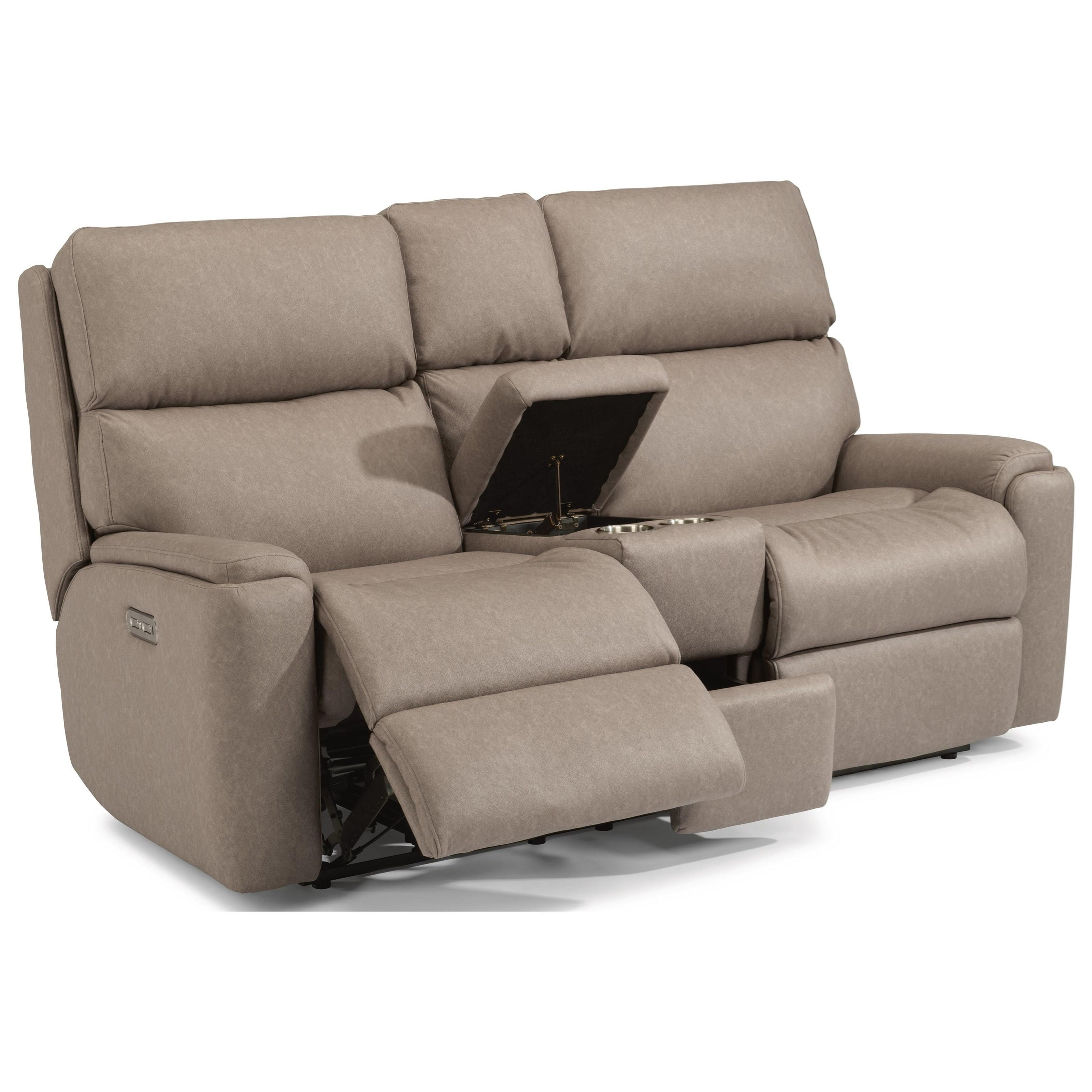 Rio Power Reclining Loveseat with Console and PH by Flexsteel at Walker's Furniture