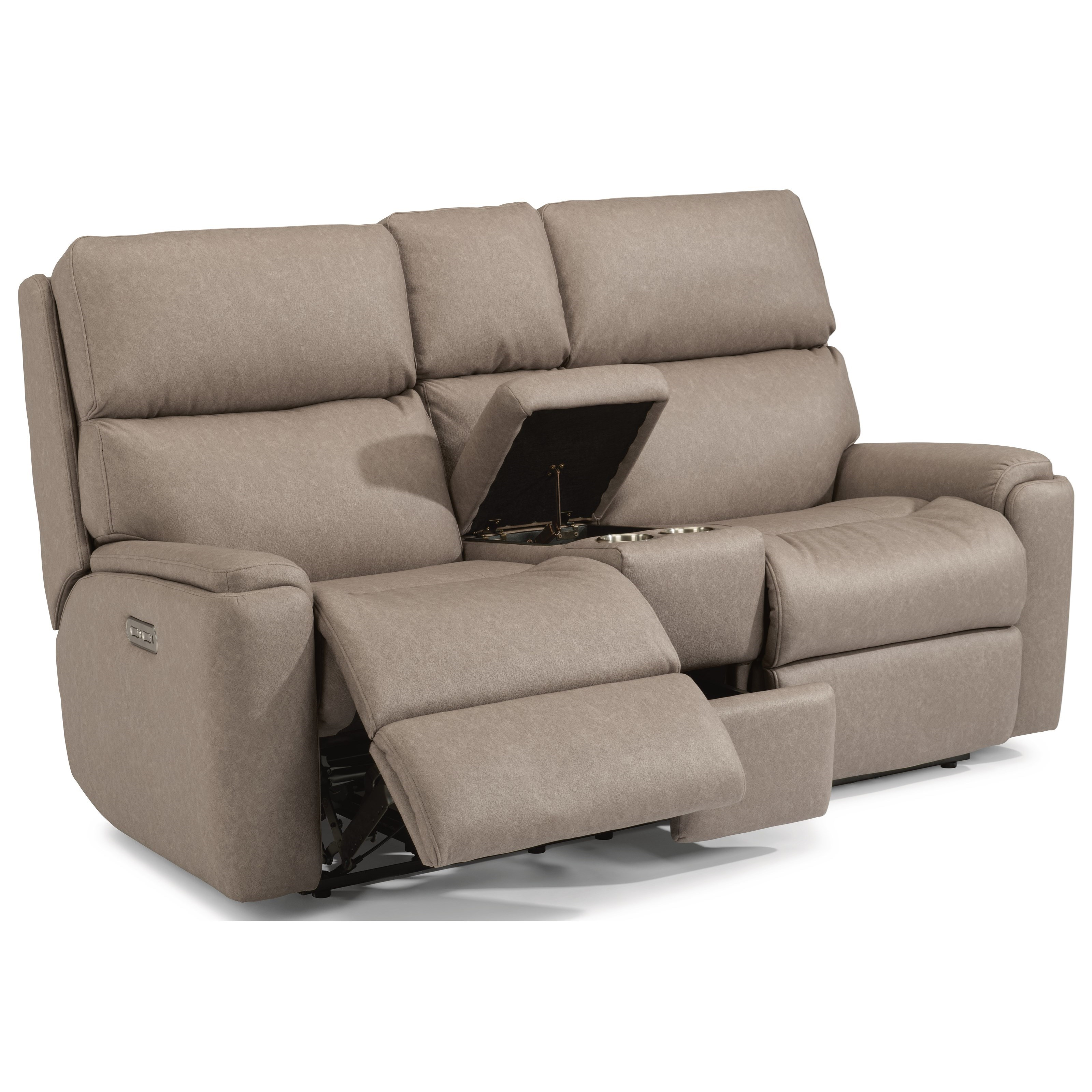 Rio Power Reclining Loveseat with Console by Flexsteel at Walker's Furniture