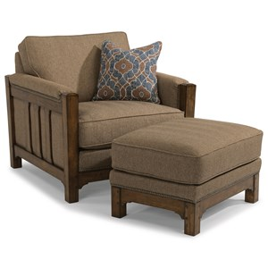 Mission Chair and Ottoman Set with Nailhead Trim