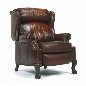 Traditional High Leg Recliner with Nailhead Trim and Paw Feet