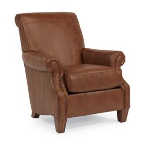 Traditional Styled Accent Chair with Rolled Arms and Wood Feet