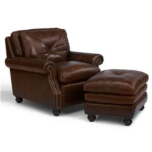 Flexsteel Latitudes-Suffolk Leather Chair and Ottoman Combination