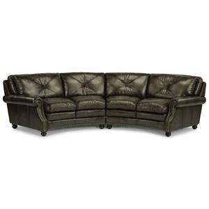 Round Sectional Sofa with Nailhead Trim