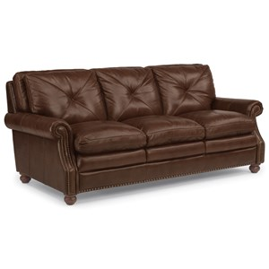 Leather Stationary Sofa with Nailhead Trim