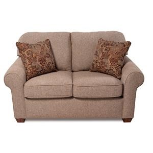 Upholstered Love Seat w/ Rolled Arm & Performance Fabrics