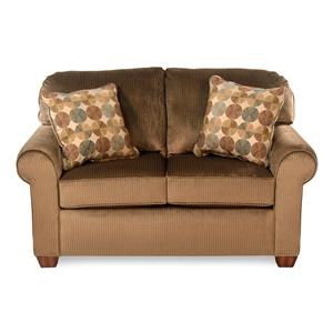 Upholstered Love Seat with Rolled Arms