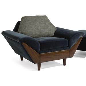 Mid-Century Modern Upholstered Chair with Flare Tapered Arms