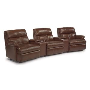 Five Piece Power Reclining Home Theater Group with Storage and Cupholder Consoles