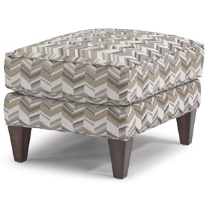 Transitional Ottoman with Tapered Block Legs