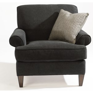 Transitional Chair with Rolled Arms and Tapered Legs
