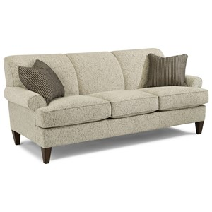 Transitional Sofa with Rolled Arms and Tapered Legs