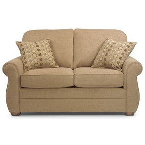 Love Seat with Turned Arms and Wood Block Feet