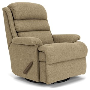 Casual Swivel Gliding Recliner with Channel-Tufted Back Cushion
