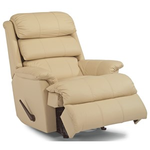 Casual Rocking Recliner with Channel-Tufted Back Cushion