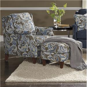 Transitional Chair and Ottoman Set with Slender English Arms and Nailhead Border