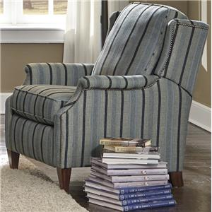 Transitional High Leg Recliner with Slender English Arms and Nailhead Border