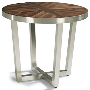 Contemporary Lamp Table with Parquet Design