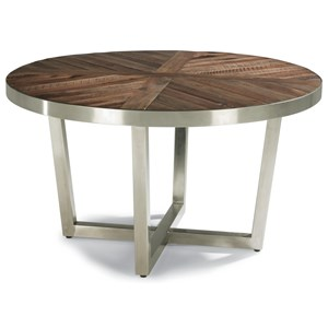Contemporary Round Cocktail Table with Parquet Designs