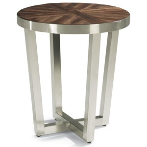 Contemporary Chairside Table with Parquet Design