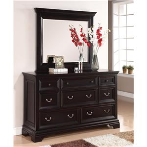 Traditional Dresser with Felt Lined Top Drawers and Beveled Glass Mirror Set