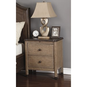 Transitional Two-Tone Night Stand with Built-In Power and Pull-Out Shelf