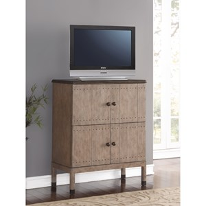 Transitional Two-Tone Media Chest with Adjustable/Removable Media Shelf