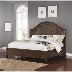 Transitional King Bed with Parquet Headboard