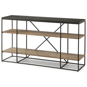 Contemporary Sofa Table with 2 Open Shelves