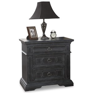 Transitional 3-Drawer Nightstand with USB Ports and Outlets